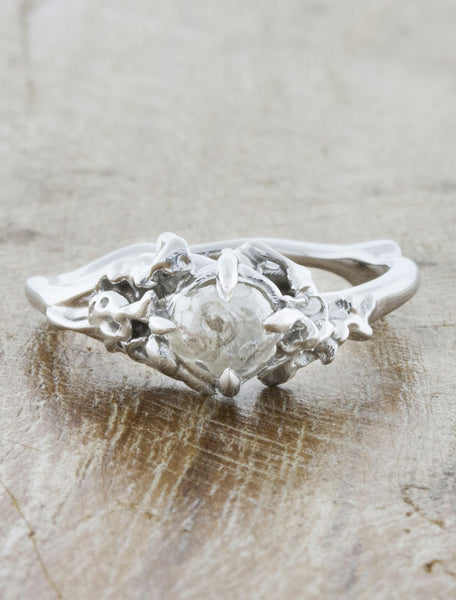 Nature inspired engagement ring - Devi caption:Rough Diamond 14k White Gold
