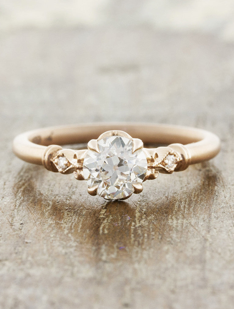 feminine european cut diamond ring in rose gold. caption:Shown in rose gold, with 0.60ct round diamond