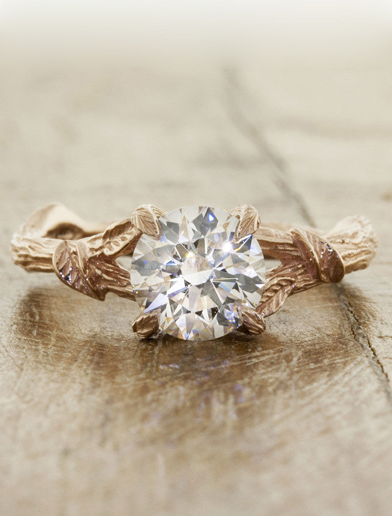 Nature inspired engagement ring - Adelia caption:1.20ct. Round Diamond 14k Rose Gold