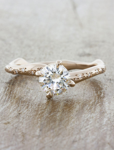 Nature inspired engagement ring - Aurora Diamonds caption:0.50ct. Round Diamond 14k Rose Gold