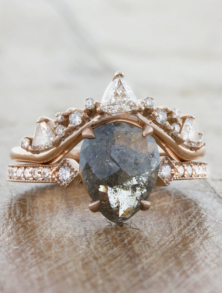 Pear shaped rough diamond engagement ring