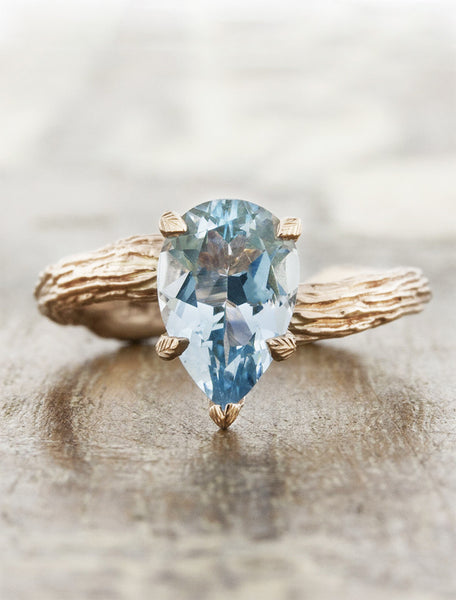 Nature inspired solitaire engagement ring caption:1.60ct. Pear Aquamarine 14k Rose Gold