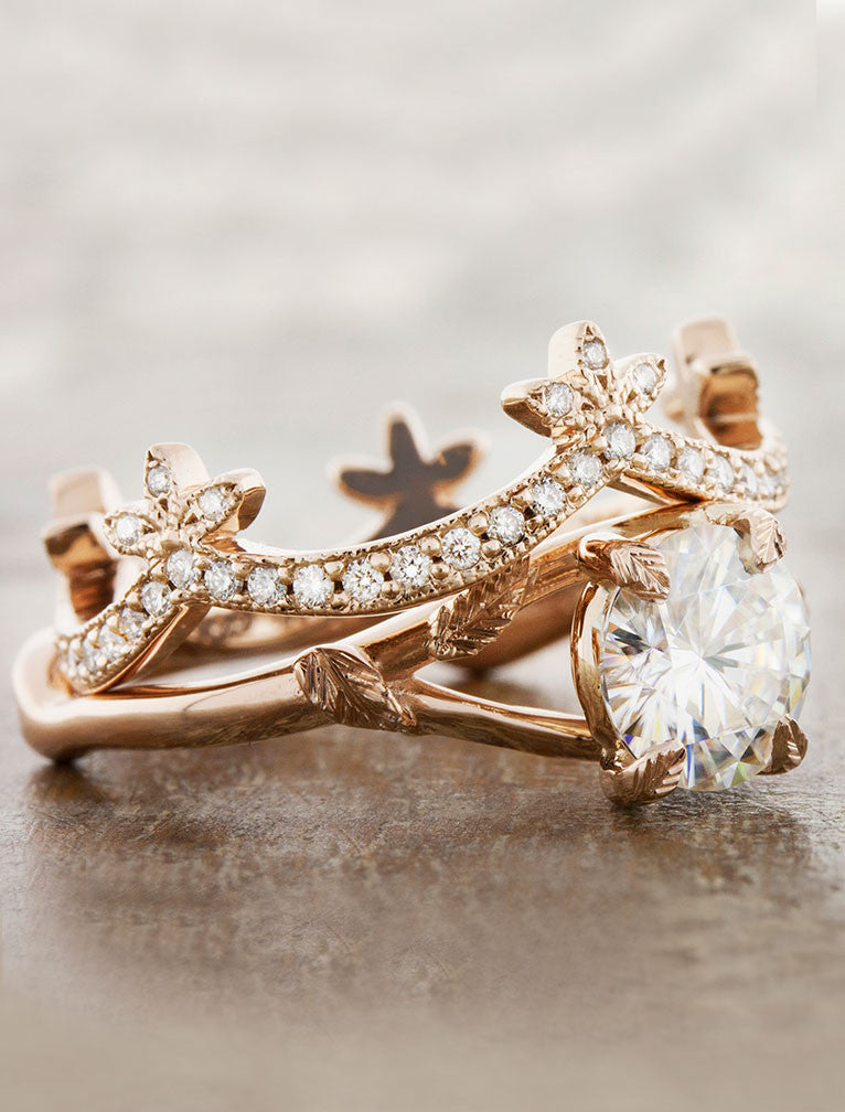 crown wedding band in rose gold with paired diamond solitaire