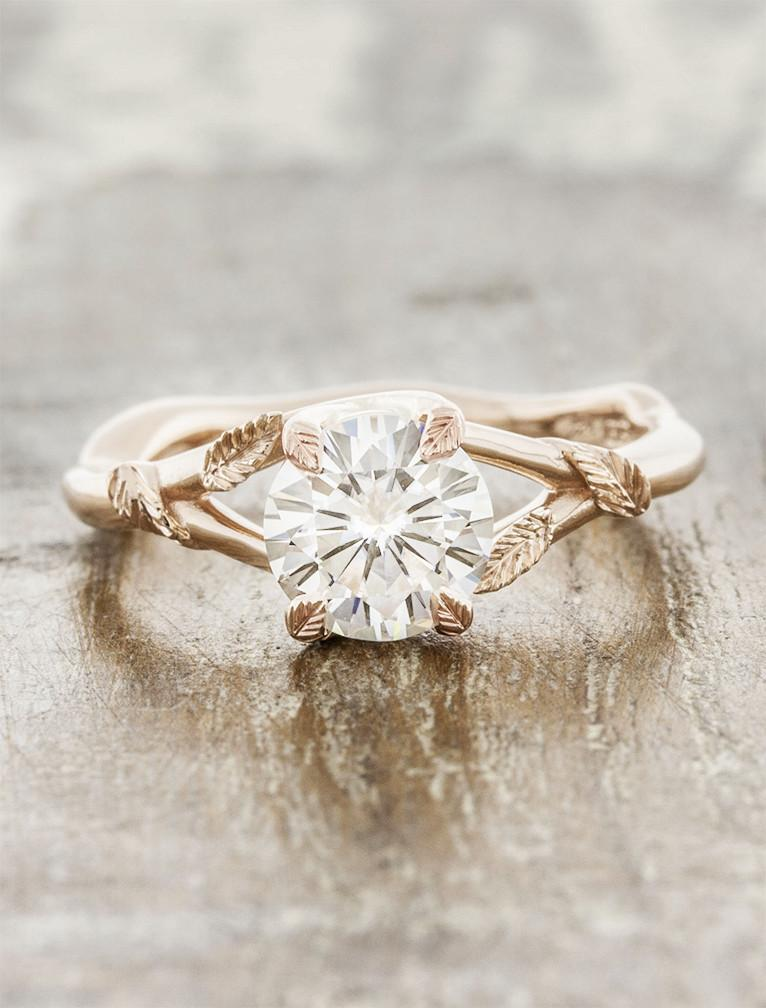 Nature inspired engagement ring;caption:1.00ct. Round Diamond 14k Rose Gold