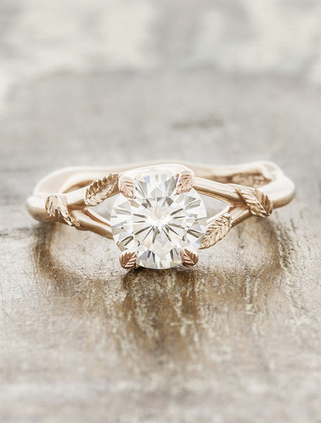 leaf prong diamond engagement ring, rose gold caption:1.00ct. Round Diamond 14k Rose Gold