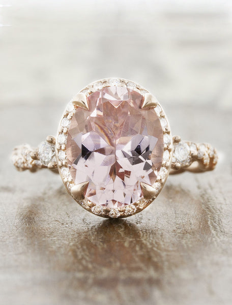 oval vintage inspired diamond ring, twisted band;caption:1.90ct. Oval Morganite 14k Rose Gold