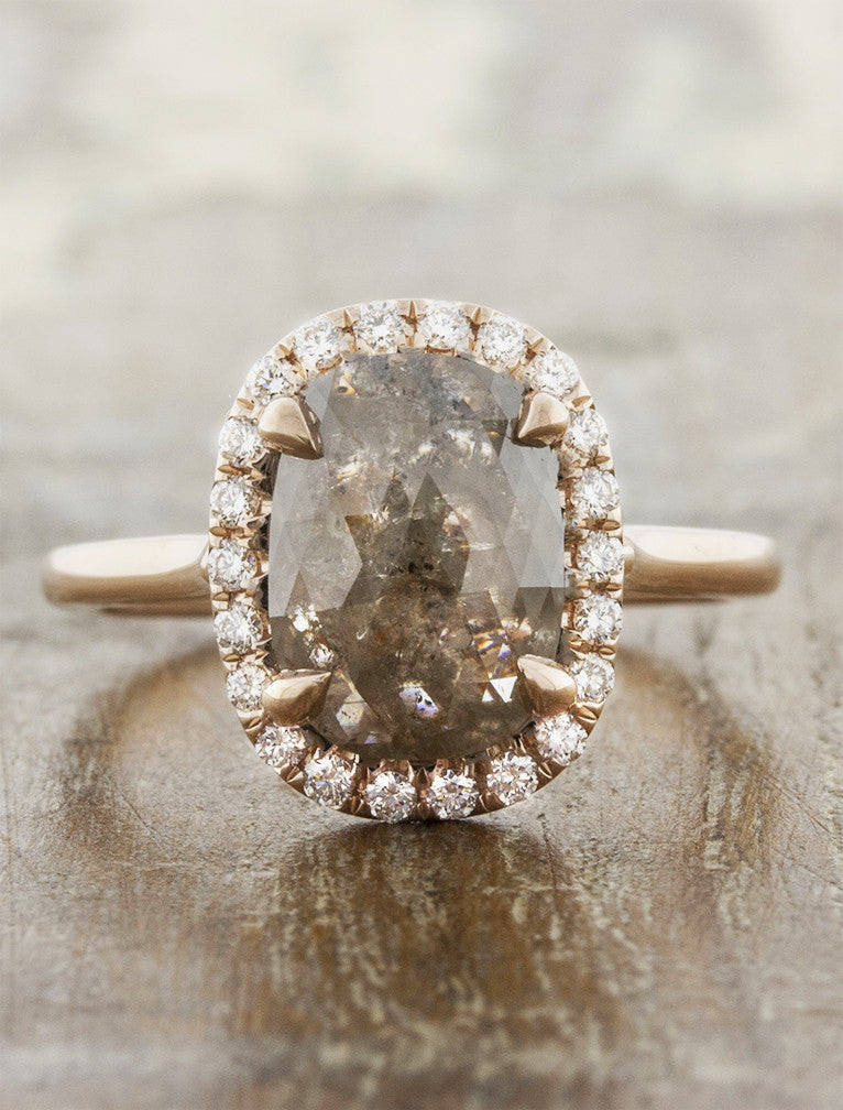 d5a52d5a60572 Rose gold halo rustic diamond engagement ring