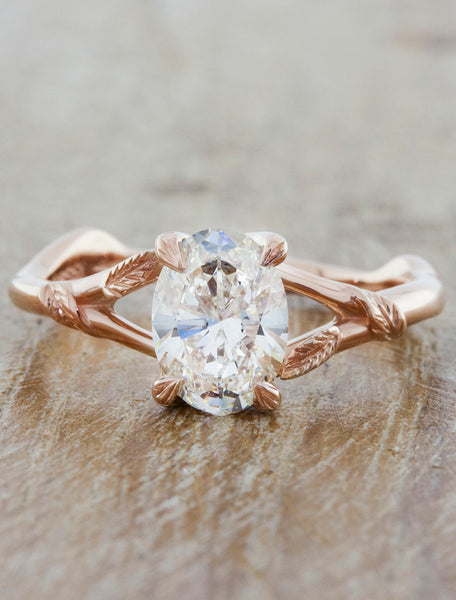 Nature inspired engagement ring- Pembroke caption:1.20ct. Oval Diamond 14k Rose Gold