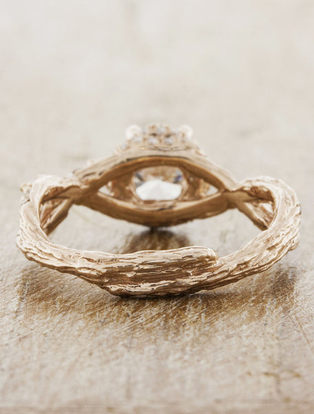 Nature Inspired Rose Gold Infinity Band Engagement Ring