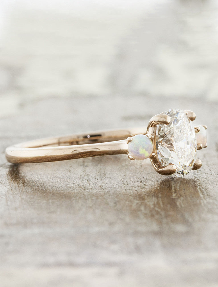 Percy Three Stone Oval Diamond Ring With Side Opals Ken