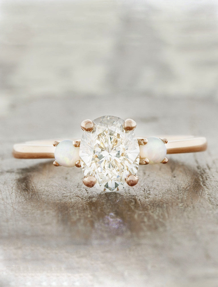 three stone diamond side opals rose gold engagement ring