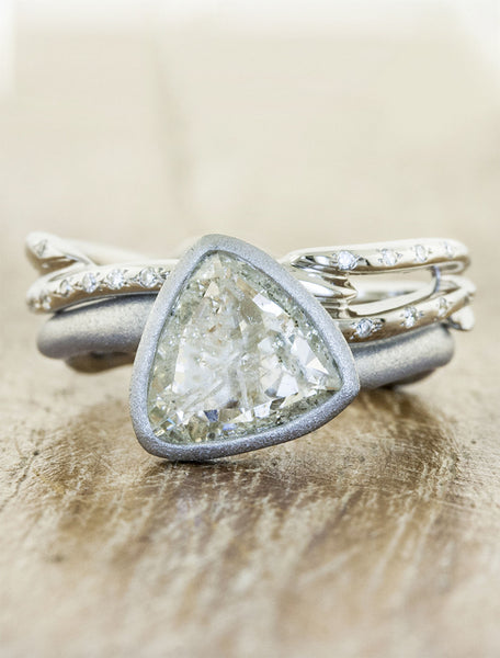 rough trillion diamond, bezel set - brushed platinum engagement ring, organic shaped band, matching ring