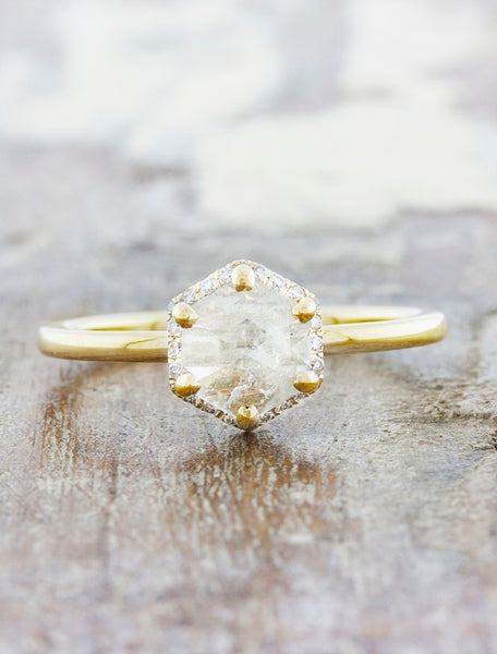 Hexagon Rough Diamond Halo Engagement Ring