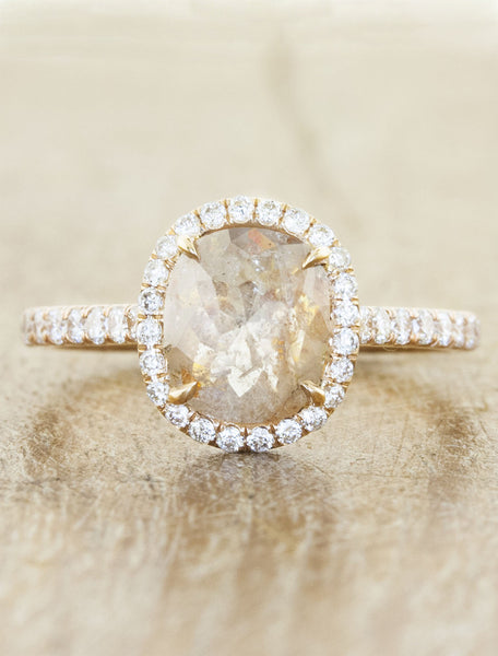 halo rustic cut diamond engagement ring