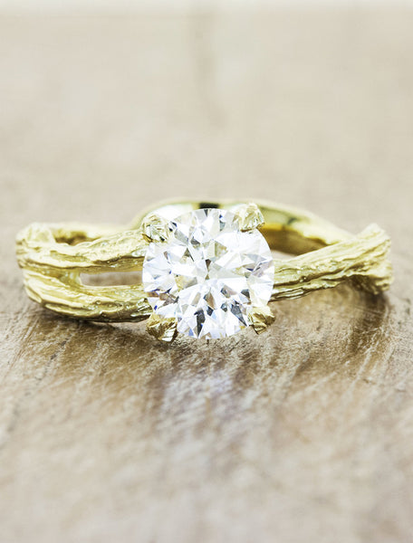 split shank tree bark diamond solitaire engagement ring, gold