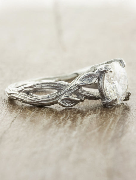 tree bark infinity band solitaire ring