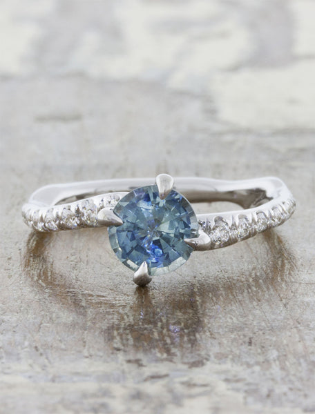 Nature inspired solitaire pave engagement ring;caption:1.30ct. Round Sapphire 18k White Gold