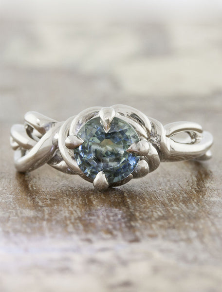 nature inspired diamond engagement ring - Landress caption:1.40ct. Round Sapphire 14k White Gold