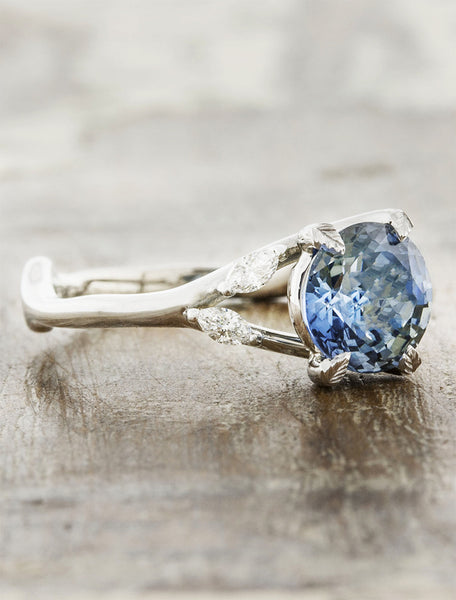 Nature inspired sapphire engagement ring. caption:Customized with blue sapphire center stone
