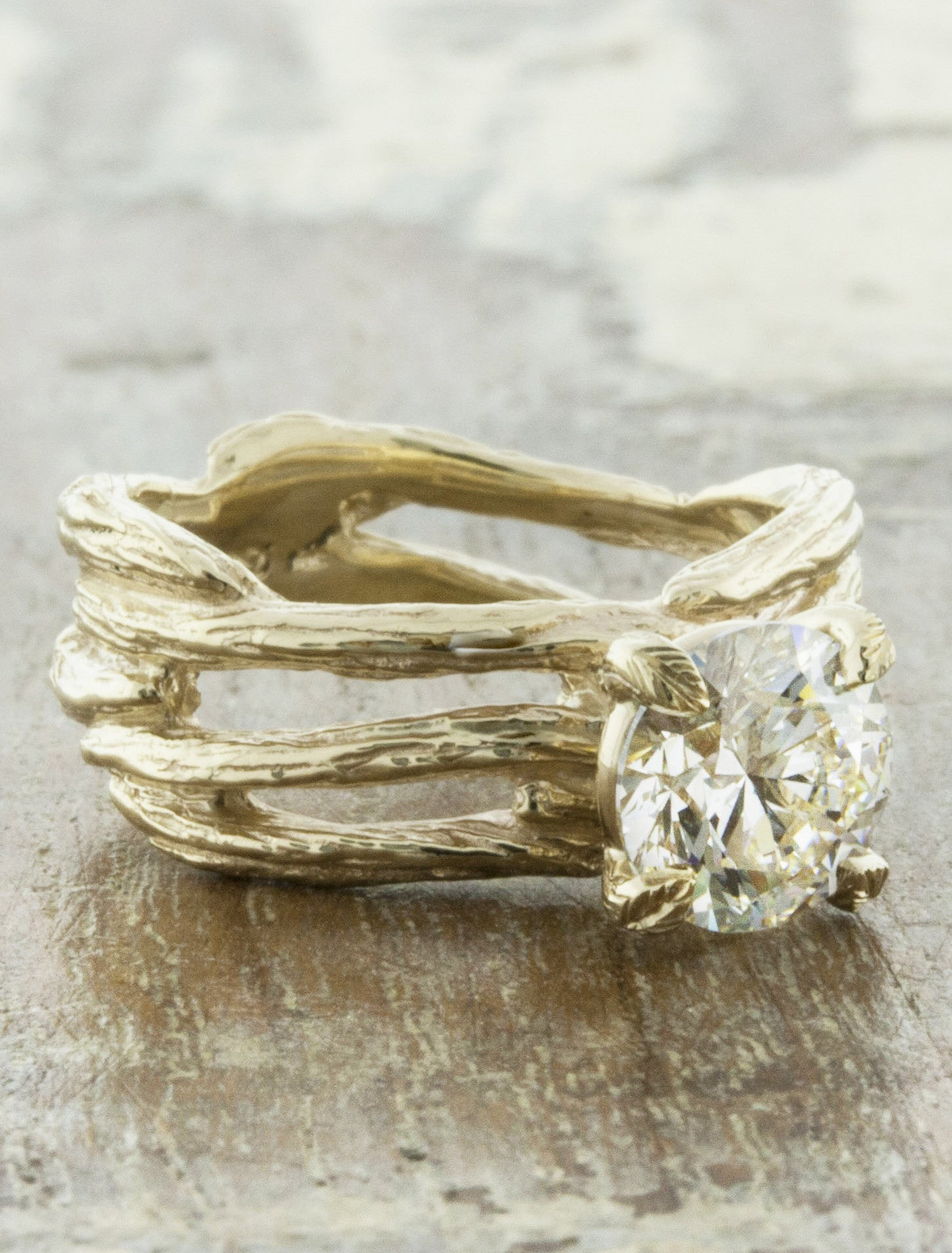 Branch Bark Textured Split Shank Diamond Engagement Ring