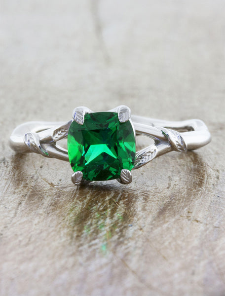 Nature inspired engagement ring;caption:1.10ct. Cushion Cut Emerald 14k White Gold