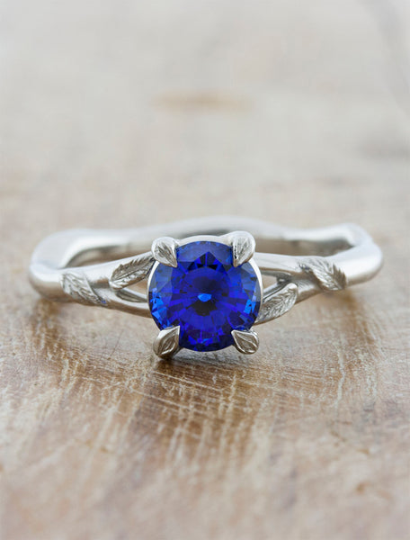 Nature inspired engagement ring;caption:1.15ct. Round Sapphire 14k White Gold