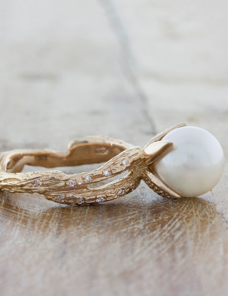 Nature Inspired Pearl Engagement Ring