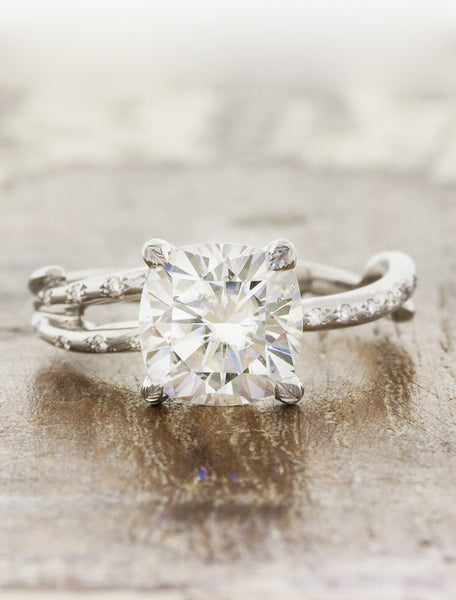 Nature inspired engagement ring leaf prongs;caption:1.75ct. Cushion Cut Diamond 14k White Gold
