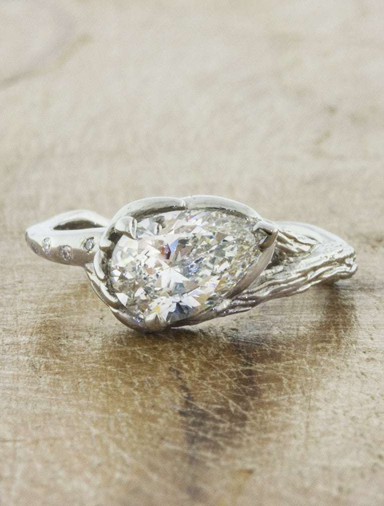 Nature inspired engagement ring split shank;caption:1.25ct. Pear Diamond Platinum
