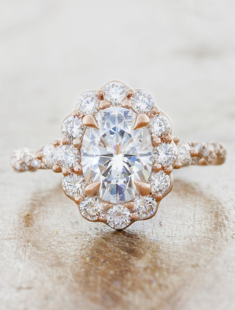 floral inspired oval halo diamond engagement ring