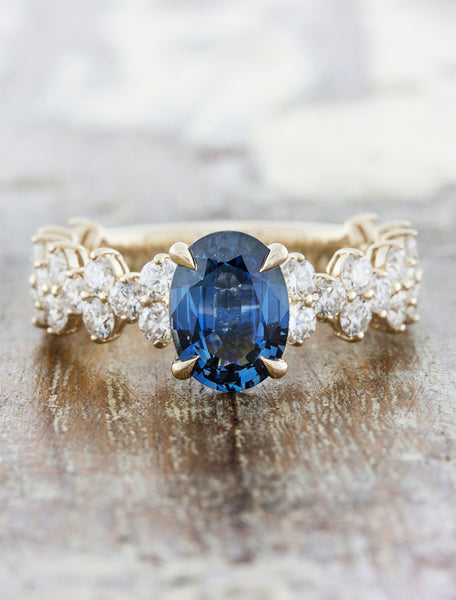 Sapphire Oval Vintage Inspired Engagement Ring