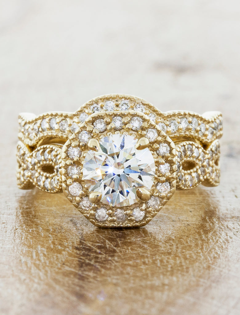 Vintage halo;caption:0.75ct. Round Diamond 14k Yellow Gold Paired with Matching Wedding Band