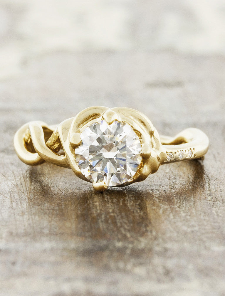 unique twisted double-helix band diamond engagement ring - gold