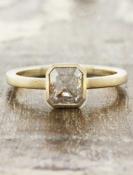 radiant cut rough diamond ring natural, rustic look