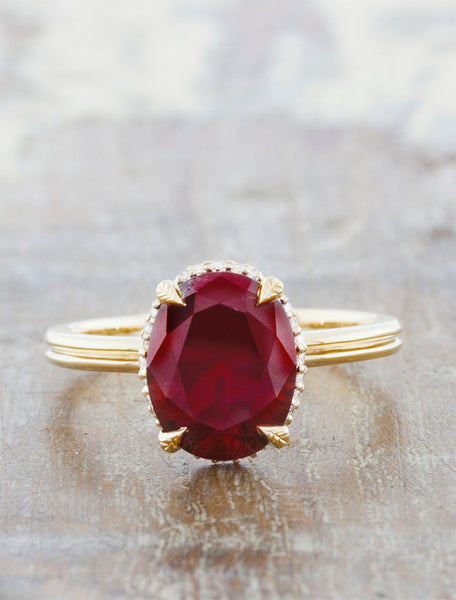 Nature inspired solitaire double band;caption:1.90ct. Oval Ruby 14k Yellow Gold