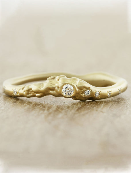 organic shaped bezel set diamond ring - yellow gold
