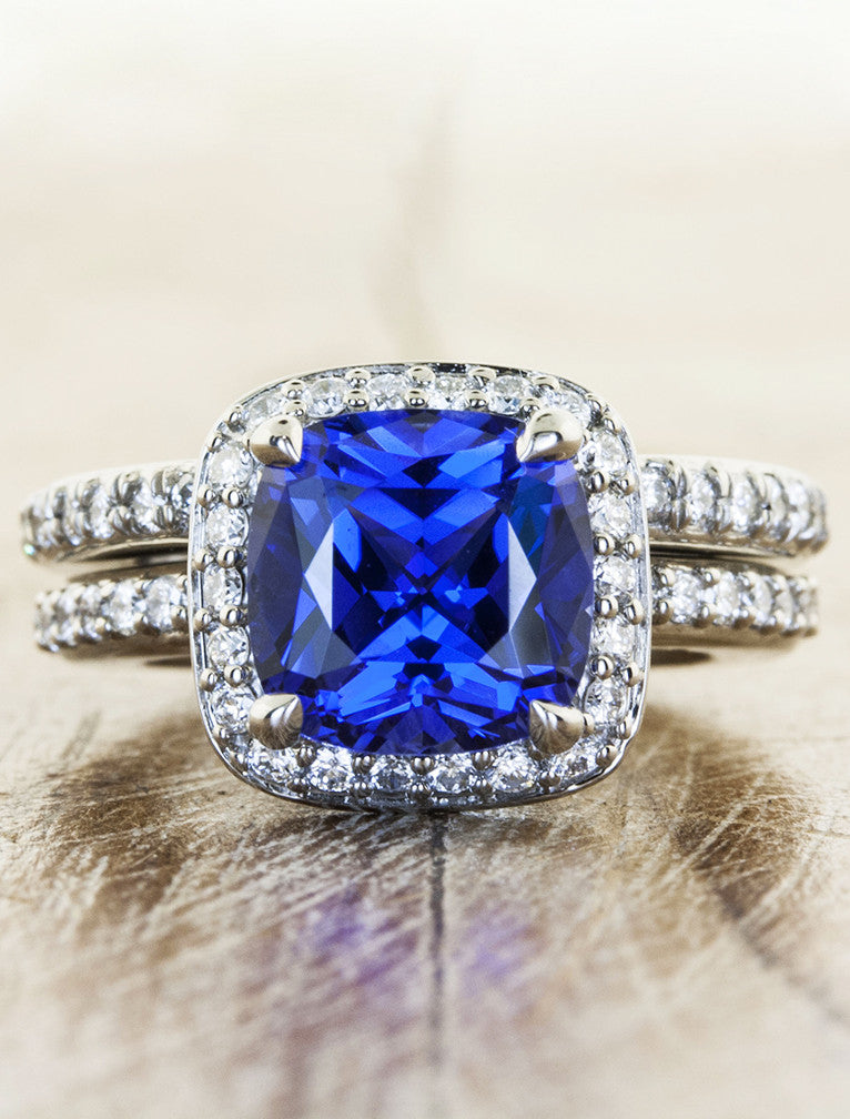 Nora Halo Cultured Sapphire Engagement Ring In Palladium