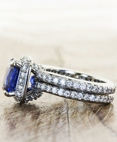cultured blue sapphire, halo setting in palladium band with matching