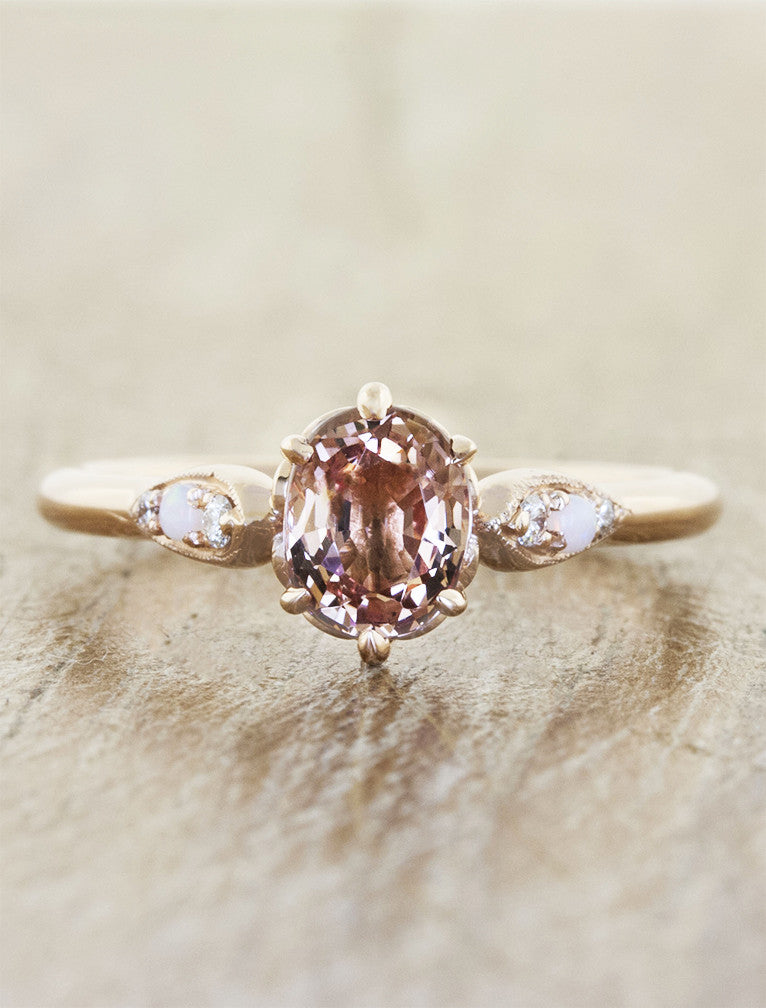 pink gemstone engagement ring