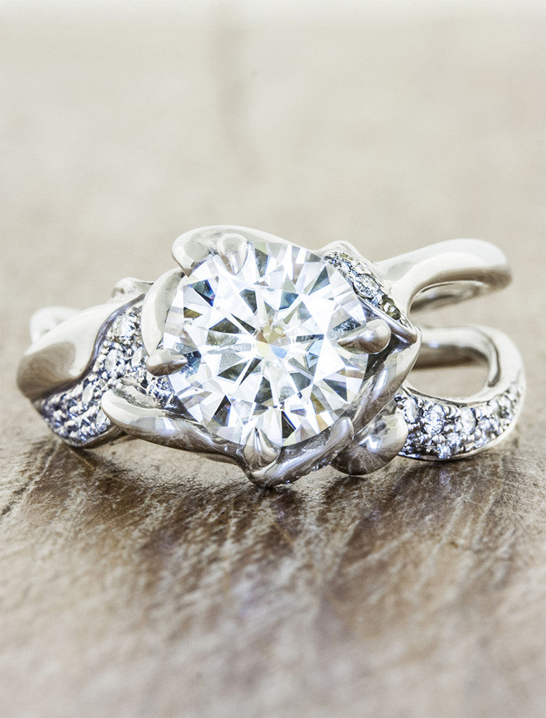 2 ct nature inspired split shank diamond engagement ring, pave set diamond band;caption:2.00ct. Round Diamond Platinum