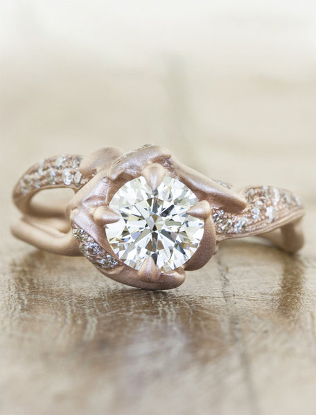 unique rose gold, nature-inspired sculptural split shank pave band - diamond engagement ring