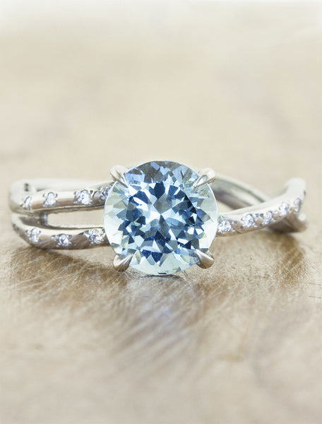 sculptural aquamarine engagement ring