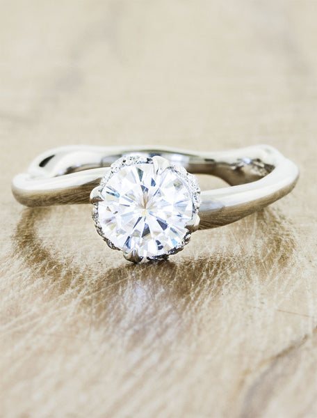 wave band diamond solitaire engagement ring