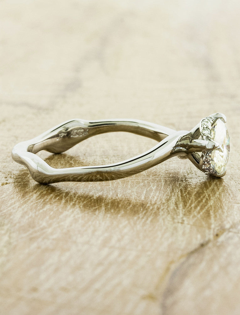 novella wave band diamond solitaire ring ken dana design - Nature Inspired Wedding Rings