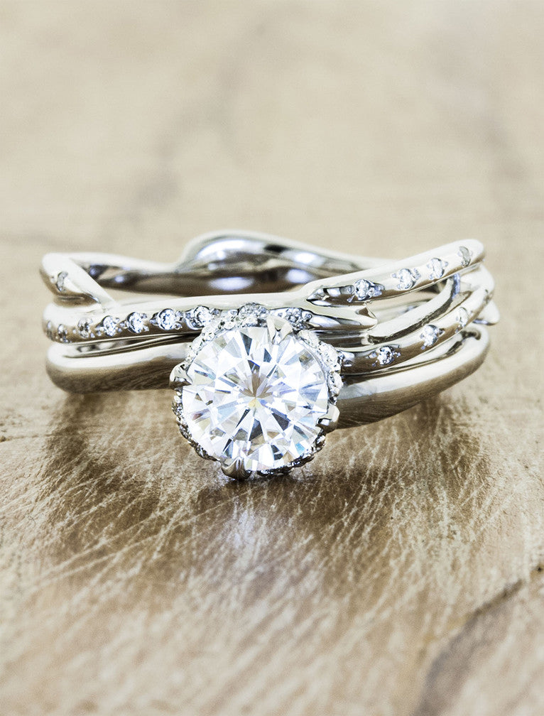 ring solitaire products rings unique wedding inspired kalyssa engagement organic nature dana sculptural diamond ken ss