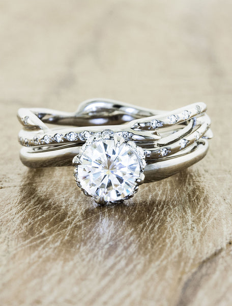 Nature inspired engagement ring hidden halo;caption:0.95ct. Round Diamond 14k White Gold paired with Selene wedding band