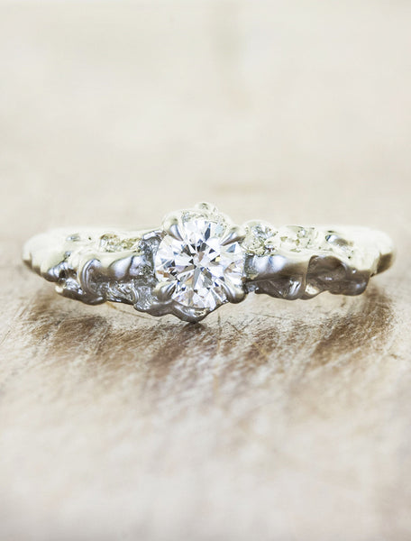 organic sculptural diamond engagement ring - white gold