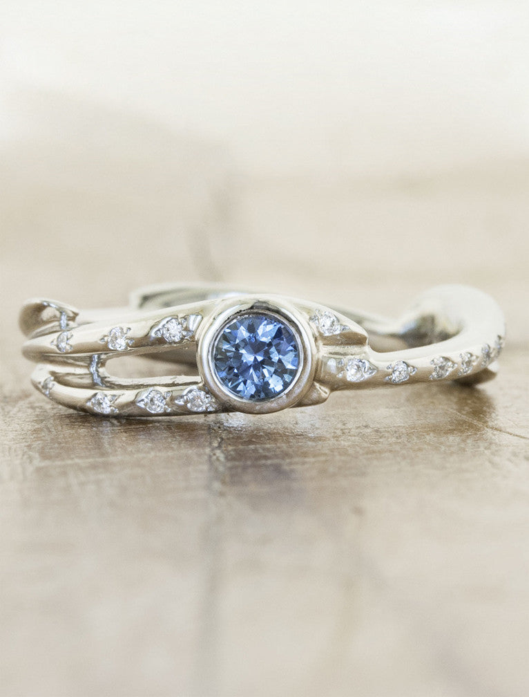 Nature inspired engagement ring;caption:Pictured in Platinum with a Sapphire