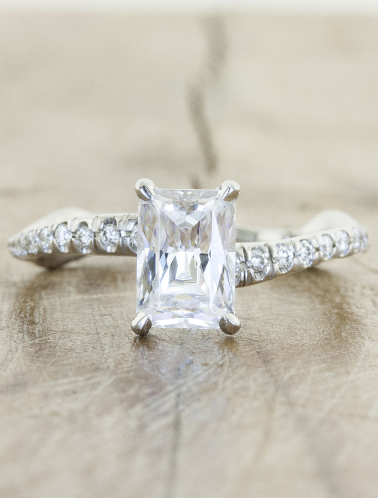 Nature Inspired Cushion Cut Diamond Engagement Ring