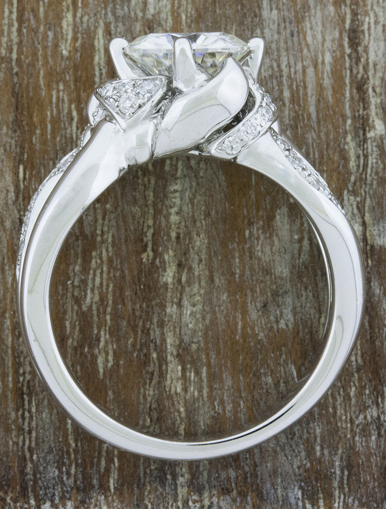 wide band, split shank - diamond engagement ring